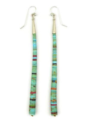 Long Turquoise & Gemstone Heishi Earrings