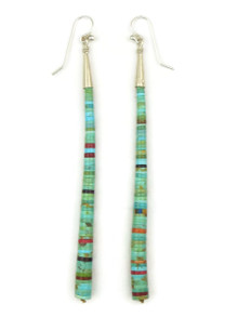 Long Turquoise & Gemstone Heishi Earrings