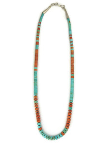 "Sponge Coral & Turquoise Heishi Necklace 16"""