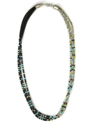 Three Strand Jet & Mother of Pearl Heishi Necklace 20""