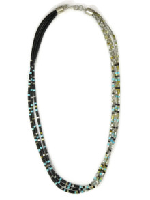 """Three Strand Jet & Mother of Pearl Heishi Necklace 20"""""""