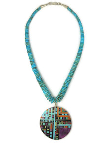 Turquoise & Gemstone Mosaic Inlay Necklace
