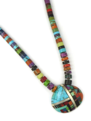 Mosaic Inlay Clam Shell Pendant Necklace by Ronald Chavez
