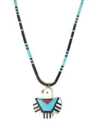 Mosaic Inlay Thunderbird Necklace by Ronald Chavez