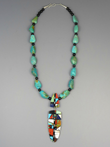 Turquoise & Multi Gemstone Inlay Feather Necklace by Christopher Nieto