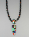 Jet & Gemstone Mosaic Inlay Feather Necklace by Christopher Nieto