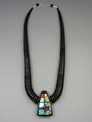Jet & Gemstone Mosaic Inlay Necklace by Christopher Nieto