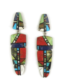 Mosaic Inlay Feather Earrings by Christopher Nieto