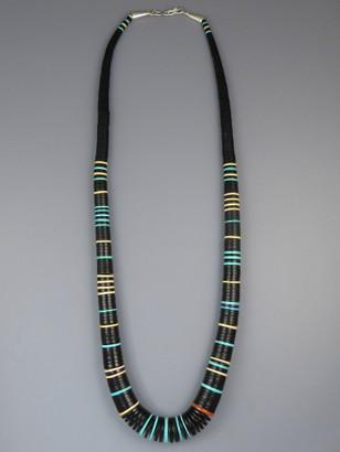 "Jet & Gemstone Heishi Necklace 28"" by Ronald Chavez"