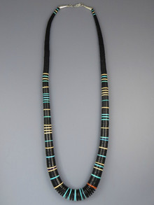 "Jet & Gemstone Heishi Necklace 28"" by Ronald Chavez"
