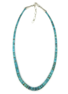 Turquoise Heishi Necklace with Adjustable Extension Chain