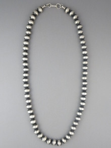 Antiqued 8mm Sterling Silver Bead Necklace 16""