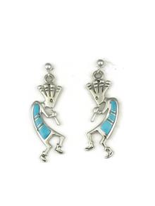 Turquoise Inlay Kokopelli Earrings