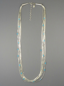 10 Strand Liquid Silver Turquoise Heishi Necklace 18""