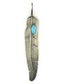 Large Blue Ridge Turquoise Feather Pendant
