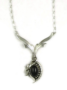 Sterling Silver Onyx Necklace by Les Baker Jewelry (NK3311)