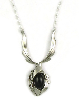 Sterling Silver Onyx Necklace by Les Baker Jewelry (NK3312)
