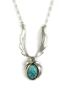 Sterling Silver Kingman Turquoise Necklace by Les Baker Jewelry
