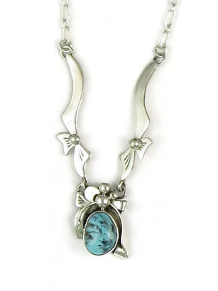 Sterling Silver Turquoise Mountain Necklace by Les Baker Jewelry