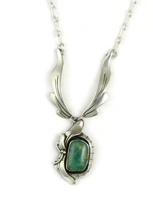 Sterling Silver Manassa Turquoise Necklace by Les Baker Jewelry