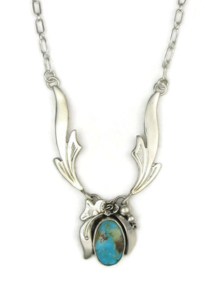 Sterling Silver Royston Turquoise Necklace by Les Baker Jewelry