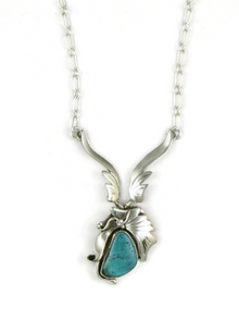 Sterling Silver Kingman Turquoise Necklace by Les Baker Jewelry (NK3320)