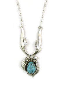 Sterling Silver Lone Mountain Turquoise Necklace by Les Baker Jewelry