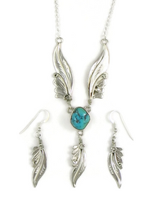 Sterling Silver Kingman Turquoise Feather Necklace Set by Les Baker Jewelry (NK3327)