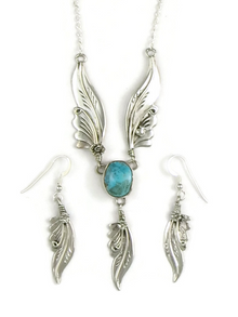 Sterling Silver Kingman Turquoise Feather Necklace Set by Les Baker Jewelry