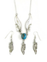 Sterling Silver Kingman Turquoise Feather Necklace Set by Les Baker Jewelry (NK3330)