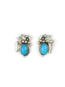 Small Sleeping Beauty Turquoise Earrings by Les Baker Jewelry