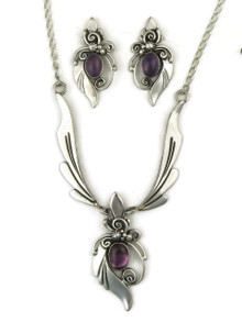 Silver Amethyst Necklace & Earring Set by Les Baker Jewelry