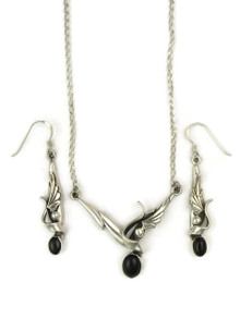 Silver Onyx Necklace & Earring Set by Les Baker Jewelry