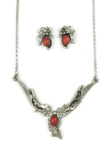 Mediterranean Coral Necklace & Earring Set by Les Baker Jewelry