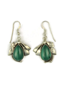 Silver Malachite Earrings by Les Baker