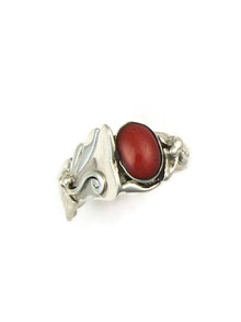 Mediterranean Coral Ring Size 6 by Les Baker Jewelry