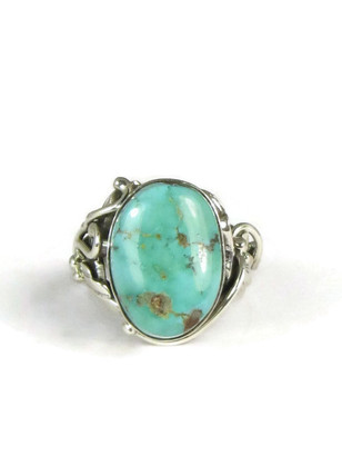 Blue Gem Turquoise Ring Size 5 1/4 by Les Baker Jewelry