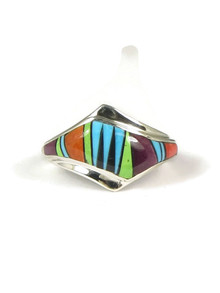 Multi Gemstone Inlay Ring Size 8 (RG3676)