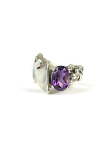 Silver Amethyst Ring Size 7 by Les Baker Jewelry