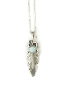 Natural Dry Creek Turquoise Feather Pendant