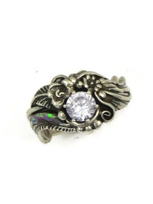 Silver CZ Inlay Ring Size 9