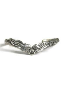 Silver Floral V-Shape Bracelet by Les Baker Jewelry