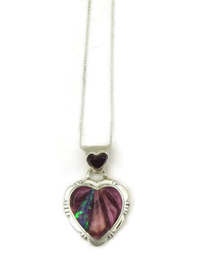 Purple Spiny Oyster Shell & Opal Inlay Heart Pendant
