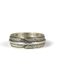 Sterling Silver Feather Band Ring Size 8 by Lena Platero