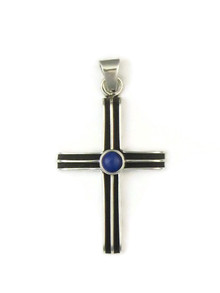 Silver Lapis Channel Cross Pendant by Francis Jones