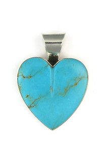 Kingman Turquoise Heart Pendant by Delina John (PD4825)