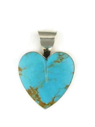 Kingman Turquoise Heart Pendant by Delina John (PD4826)