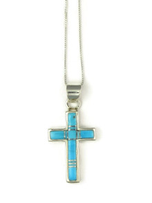 Turquoise Inlay Cross Pendant (PD4827)