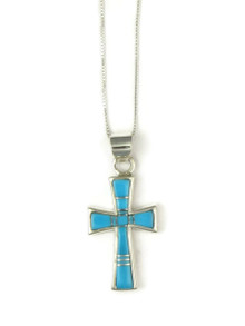 Turquoise Inlay Cross Pendant (PD4828)
