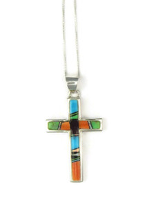 Multi Gemstone Inlay Cross Pendant